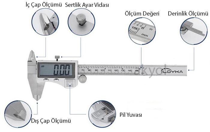 dijital 0-200 mm kumpas