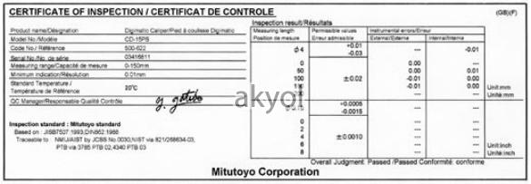 mitutoyo sertifika