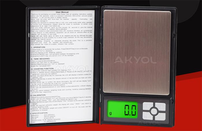 notebook kapaklı cep terazisi