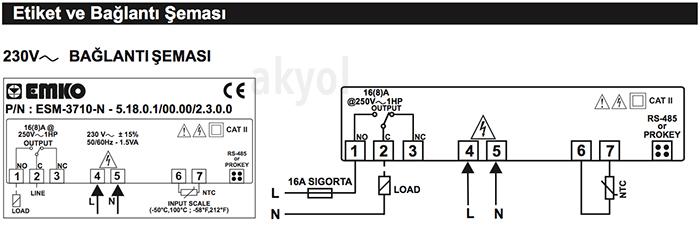 esm3710 bağlantı şeması