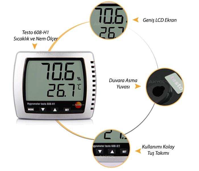 Testo 608-H1 Sıcaklık ve Nem Ölçer